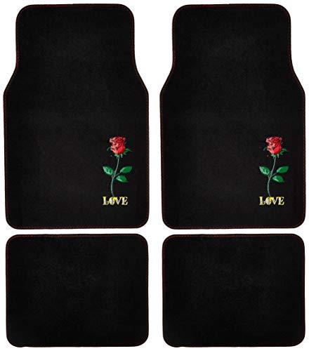 BDK Universal Fit 4-Piece Design Carpet Floor Mat Set - (Red Rose) (Licensed Products, Secure Backing), (MT-520)