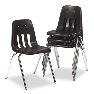 Virco : Series 9000 Plastic Stack Chair, Black/Chrome Frame, Four/Carton -:- Sold as 2 Packs of - 4 - / - Total of 8 (9000 Series Stack Chair)