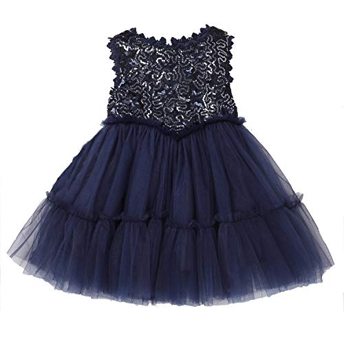 Flofallzique Sequin Girls Dress Special Occasion Tulle Princess Dress for Toddler Baby Clothes(4, Navy Blue)]()