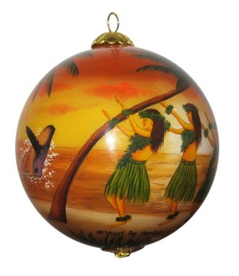 Maui By Design Collectible Hawaiian Christmas Ornament - Sunset Hula -