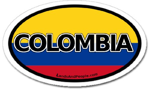 Colombia and Colombian Flag Car Bumper Sticker Decal Oval