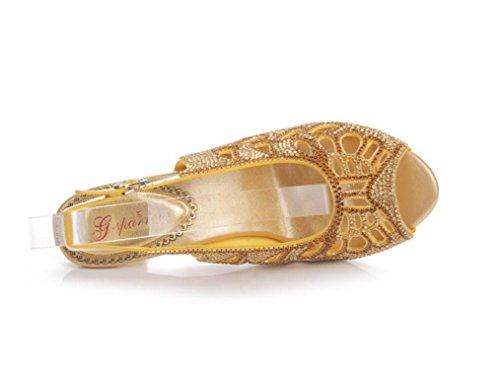 SHFANG Sandalias de las señoras Talón fino del talón Rhinestones de la boca de los pescados Talón del ajuste del diamante Parte posterior de la herradura y del banquete 8cm de oro gold (fine heel)