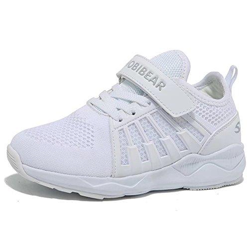 HOBIBEAR Kids Uniform School Sneakers Breathbale Lightweight Knit Athletic Running Shoes White by HOBIBEAR