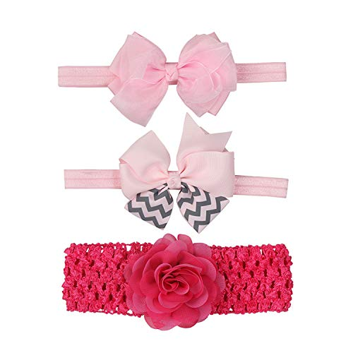DoubleZhou Baby Girl Headbands and Bows Cute Hair Accessories for Baby Girls Newborn Infant Toddlers Kids 3PCS
