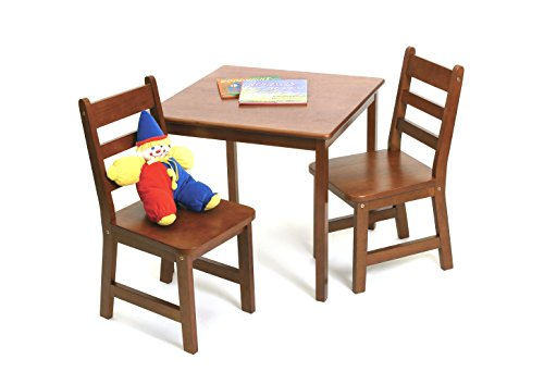 Lipper International 514C Child's Square Table and 2 Chairs, Cherry (Cherry Game Chair)