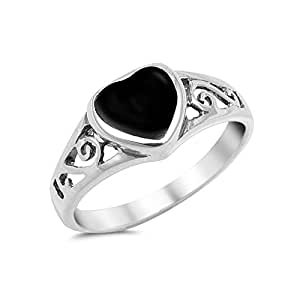 925 sterling silver black onyx inlay