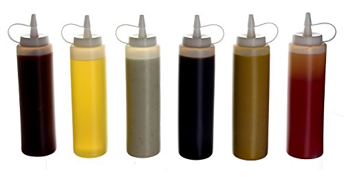 (6pk) 14 oz Plastic Squeeze Squirt Condiment Bottles with Twist On Cap Lids - top dispensers for ketchup mustard mayo hot sauces olive oil - bulk clear bpa free bbq set