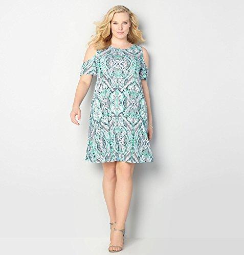 AVENUE-Womens-Paisley-Cold-Shoulder-Dress