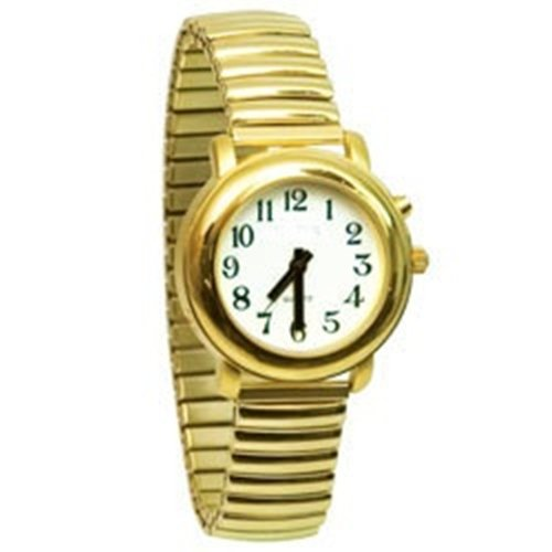 Ladies Deluxe Talking Wrist Watch Gold Tone with Expansion (Stretch) by MAGNIFYING AIDS
