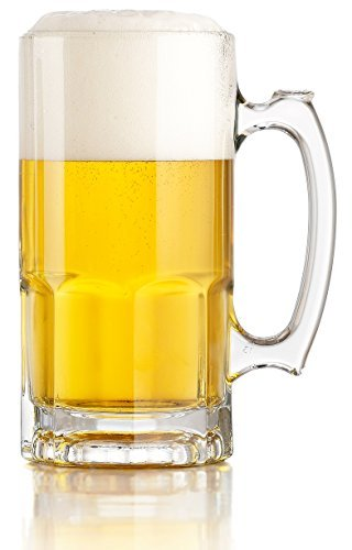 Libbey One Liter German Style Extra Large Glass Beer Stein Super Mug, 34 Ounce -