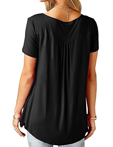 Aifer Women's Casual Short Sleeve Button-Up Pleated Ruffle Blouse and T-Shirts Flare Summer Tunic Tops