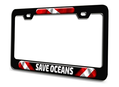 (SAVE OCEANS Scuba Diving Black Steel License Plate Frame 3D Style)