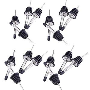 JZK 16 Tappo dosatore Acciaio Inox Tappo versatore Bottiglia Vino con Lunga beccuccio Conico e Cappuccio per liquore, Vino, Olio, Cocktail, Succo, ECC 1 spesavip