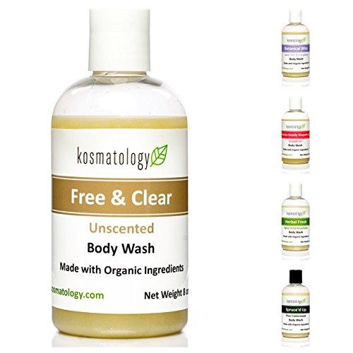 Kosmatology Free & Clear (Unscented) Organic Body Wash, 8 fl oz