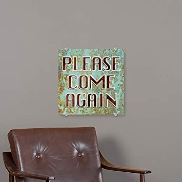 16x16 Please Come Again 5-Pack CGSignLab Ghost Aged Blue Premium Brushed Aluminum Sign