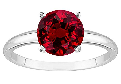 2 Carat 18K White Gold Round Ruby 4 Prong Solitaire Diamond Engagement Ring (AAA Quality)