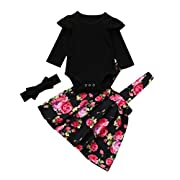 3pc Gotd Newborn Infant Toddler Baby Girl Romper Tops+Floral Tutu Party Princess Dress Clothes Winter Outfits Christmas Holiday (0-3 Months, Black)