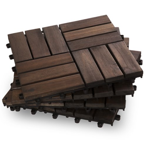 Garden Winds DT02-DB Twelve Slat Deck Tiles, Mahogany, 10 Count 10 Deck Tiles