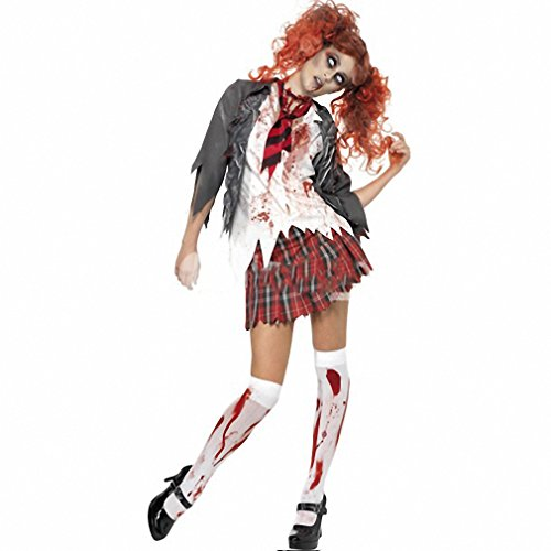 Zombie School Girl Uniform Vampire Costumes Cosplay Halloween Costume For Adult Carnival Costumes For Women (Zombie Schoolgirl Halloween Makeup)