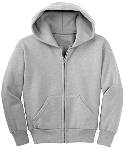 Sweatshirt Ash Zip Hoody Full (Joe's USA(tm) - Youth Full-Zip Hooded Sweatshirt-Ash-XS)