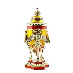 Imperial Dynasty Inspired Russian Egg - Enameled Jewelry Trinket Box Figurine