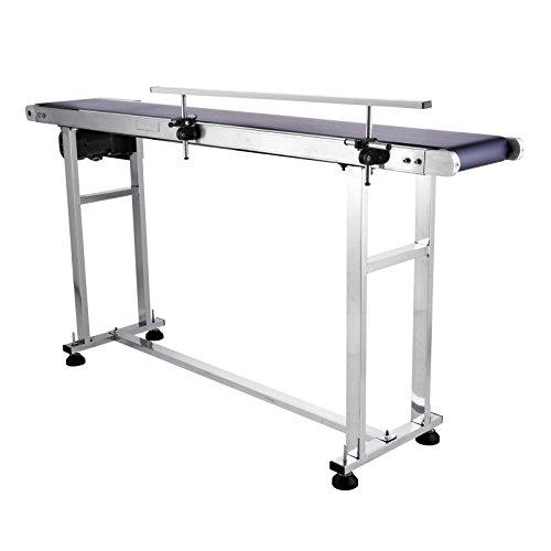 (Happybuy Belt Conveyor 59 x 7.8 inch Conveyor Table Heavy Duty Stainless Steel Motorized Belt Conveyor for Inkjet Coding Applications Powered Rubber PVC Belt Anti Static (One Guardrail))