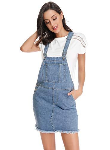 CROSS1946 New Women Denim Strap Dungaree Dress Overall Jeans Short Skirt Pinafore Kaftan Size 10