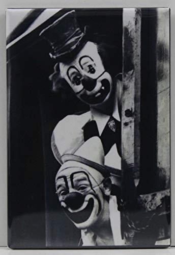 Train Car Clowns B & W Photo Refrigerator Magnet.