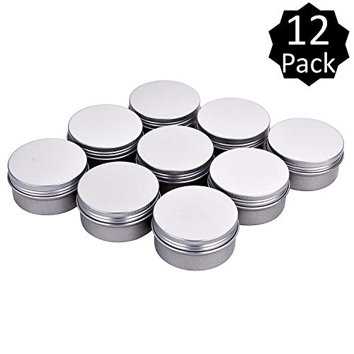 Fizz 3 oz. Metal Tins Cans Bulk Storage Aluminum Jars Round Food Tins Screw Top Refillable Containers 3 Oz Tins Jars,Pack of 12(Silver)