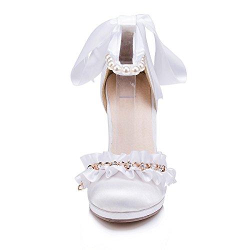 Womens Prom White Bridal Fashion Party ZMS604 Pumps Wedding Kevin Shoes Ruffle Satin Evening wUTFSqE