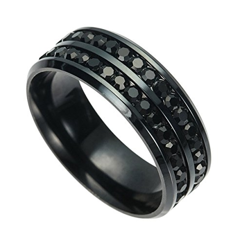 Kebaner Men 8mm Stainless Steel Unique Double Row Crystal CZ Diamond Ring Women Wedding Band Black Size 7