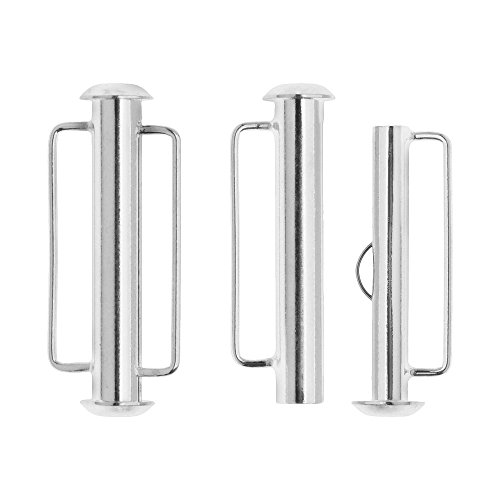 Silver Slide Jewelry Set (Slide Tube Clasps, with Bar Loops 26.5x10.5mm, 2 Sets, Silver Plated)