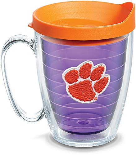 - Tervis 1084306 Clemson Tigers Clemson Tumbler with Emblem and Orange Lid 16oz Mug, Amethyst