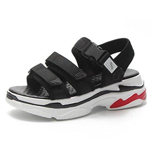Zapatos de mujer Summer Beach Shoes Sandalias deportivas Retro Fashion Casual Sneakers Red Black White GAOLIXIA Black