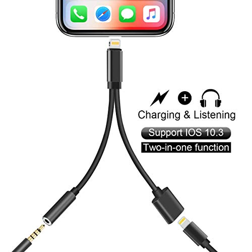 Headphone Jack Adapter Compatible for iPhone 2 in 1 Earphone Dual Connector Audio 3.5mm Charger Aux Adaptor Cable Replacement Splitter for iPhone 7/7 Plus 8/8 Plus/X 10 Supports iOS 12 - Black
