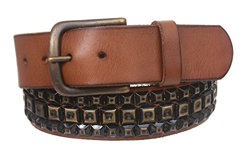 Snap On Row Punk Rock Distressed Brass Studded Vintage Full Grain Leather Belt Size: 36 Color Tan
