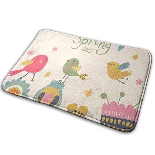 Feim-AO Cute Cartoon Birds On Flowers Anti-Slip Machine-Washable Door Mats Bathroom Kitchen Rug Floor Mat 30(L) X 18(W) Inch
