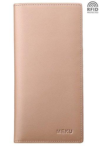 - MEKU RFID Blocking Slim Genuine Leather Bifold Long Wallet with ID Window Khaki