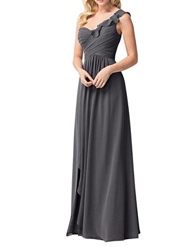 Dunkel Partykleider Grau Brau Lang La Traeger mia Abendkleider Ein Chiffon Brautjungfernkleider Abschlussballkleider w0pFvqpf