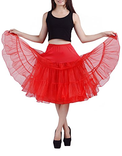 [HDE Women's Vintage Petticoat Slip Tutu Skirt Rockabilly Swing Dress Underskirt (S-M , Red)] (Girls Pink 1950s Rock N Roll Costume)