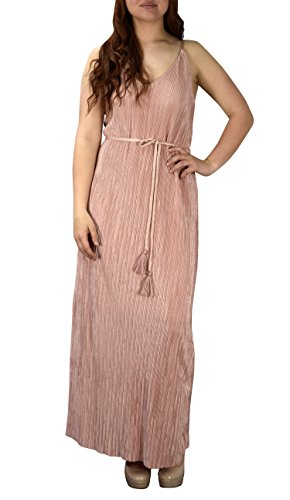 Peach Couture Women Vintage Sexy V Neck Cocktail Party Maxi Dress Tie Front Spaghetti Strap Cut Out Back Boho Dress Pink, XL