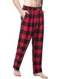 Men's 100% Cotton Woven Flannel Pajama Lounge Sleep Pants Plaid PJ Bottoms w Pockets and Drawstring M39