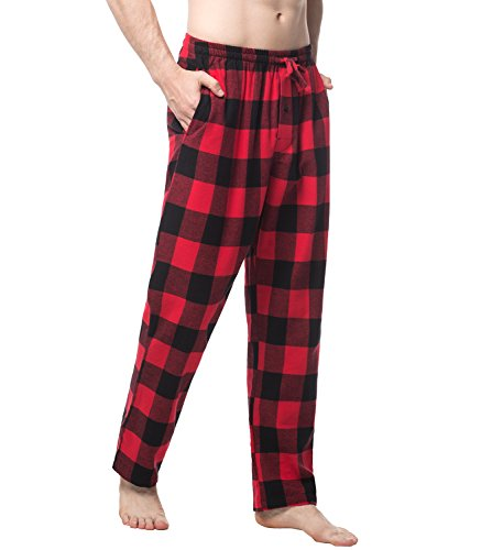 LAPASA Men's 100% Cotton Woven Flannel Pajama Lounge Sleep Pants Plaid PJ Bottoms w Pockets and Drawstring ()