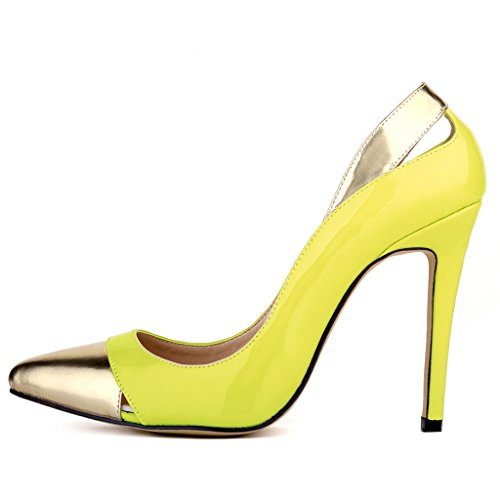 ZriEy Women Pumps Pointed Toe Stiletto Shoes 11cm Fluorescent Green