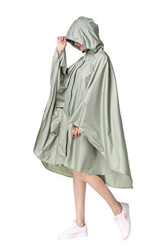 (Women's Stylish Polyester Waterproof Rain Poncho Free Size with Hood Zipper Colorful Rain Coat (Green))