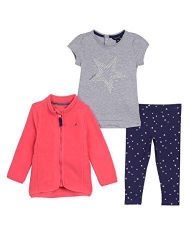 Nautica Baby Girls Nautex Zip, Knit Top & Glitter Legging