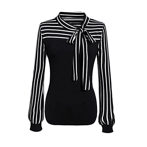 Womens Long Sleeve Tops,YKA,Womens Tops,Girl FTie-Bow Neck Striped Blouse Shirt T-Shirt For Ladies (M, Black) (Dress Ashley In Black)