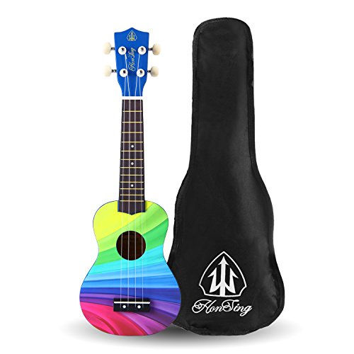 Honsing Soprano Ukulele Beginner Hawaii kids Guitar Uke Basswood 21 inches with Gig Bag- Rainbow Stripes Color matte finish - Image 8