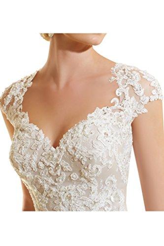La_mia Braut 2017 Neu Elfenbein Edel Spitze Herzausschnitt Damen Hochzeitskleider Brautkleider Brautmode Lang Schleppe