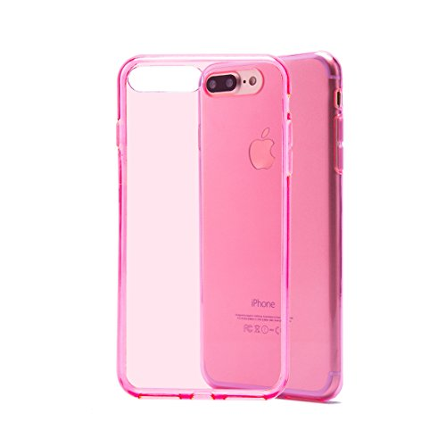 Case for Apple iPhone 7 Plus / iPhone 8 Plus by 32nd, Clear Gel Silicone Slim Shell Cover - Hot Pink (Hot Pink Rubber Case)